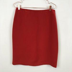 Jones New York Red Silk Work Dressy Pencil Skirt